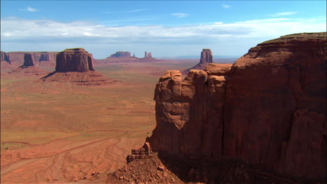 Aerial sweeping view expansive desert valley of buttes / Monument Valley
