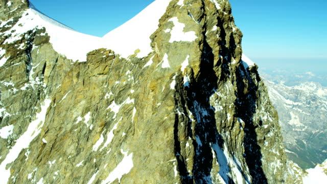 Aerial Switzerland Monch mountain Alps snow ice glacier