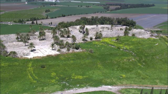 Aerial Tel Megido archaeological site in Jezreel Valley, Israel, Megiddo, Israel