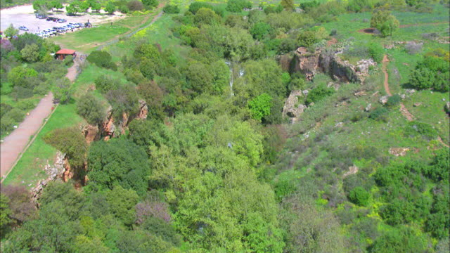 Aerial the Banias waterfall in the northern Golan Heights, Galilee, Israel