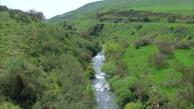 Aerial the Jordan River in the Upper Galilee, Israel