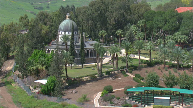 Aerial the mount of the Beatitudes at the Sea of Galilee, Israel