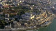 Aerial the old city of Jaffa and the skyline of Tel Aviv, Jaffa, Israel