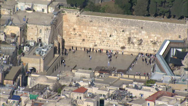 Aerial the Western Wall in the old city of Jerusalem. Wailing wall, Israel