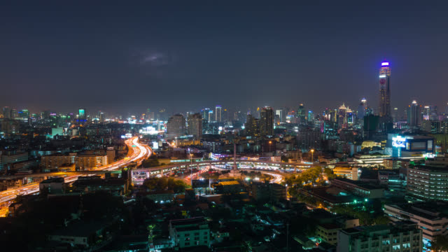 Aerial Time Lapse of Traffic and Thunder Storm over Bangkok