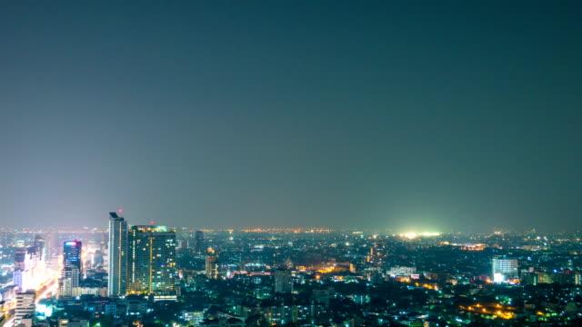 Aerial Time lapse of Traffic in Economic Zone of Bangkok at Night