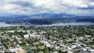 Aerial time lapse zoom of southeastern Seattle from the Columbia Center Sky View Observatory