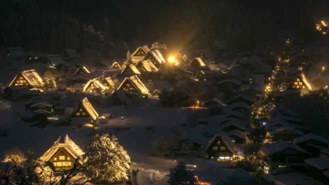 Aerial time-lapse: Shirakawago Gassho-Dukuri, Chubu World Heritage Japan night