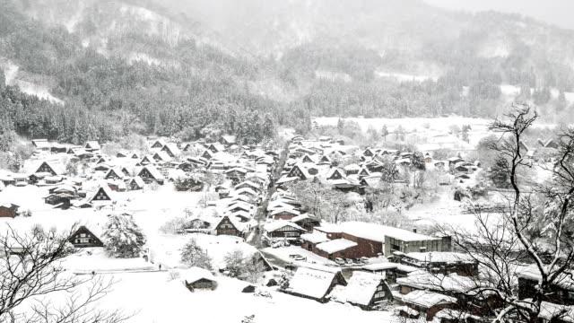 HD-Zeitraffer: Luftaufnahme Shirakawago Gassho-Dukuri Gifu, Chubu World Heritage Japan