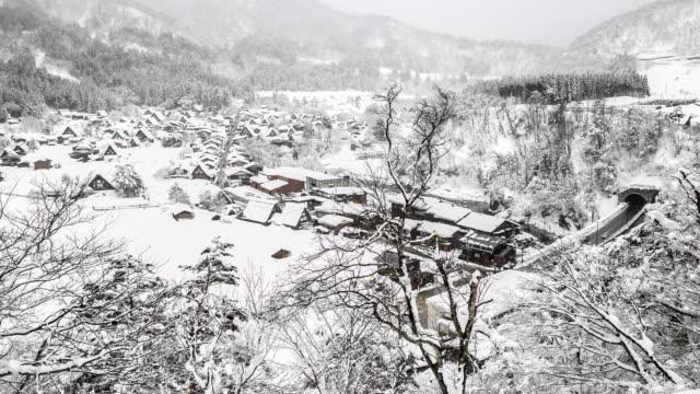 4K Aerial time-lapse: Shirakawago Gassho-Dukuri Gifu, Chubu World Heritage Japan