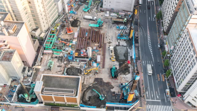 Aerial Time-lapse: Working in Construction Site