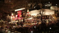 Aerial TL of the stage at the Christmas tree lighting ceremony in Boston Common