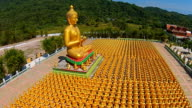 Aerial Top View: many of the golden Buddha