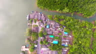 Aerial top view of Beautiful Mangrove Forest and Small Village, Phang-Nga Bay, Thailand