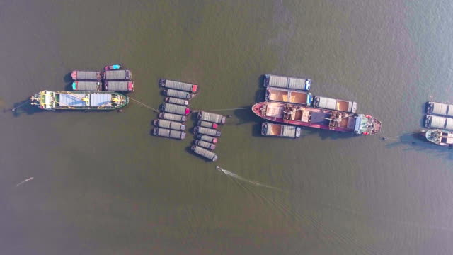 Aerial Top View of Container Ships in River
