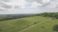 Aerial track around Bronze Age burial mounds