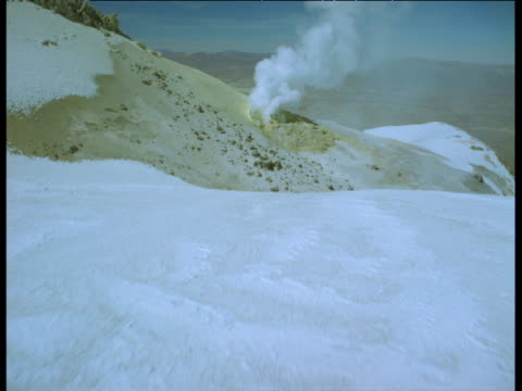 Aerial track over snowy volcano summit and steaming sulphurous vent on cone