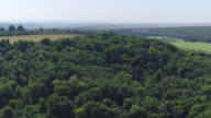 Aerial track over woods to reveal ruin on hilltop