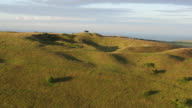 4K aerial track towards iron age hill fort