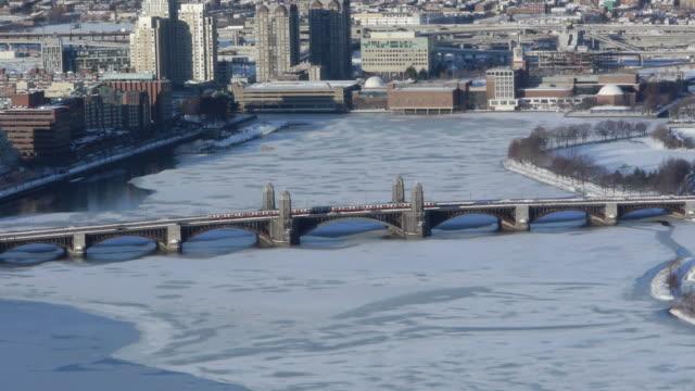 Aerial Train crossing Longfellow Bridge in Boston in Winter