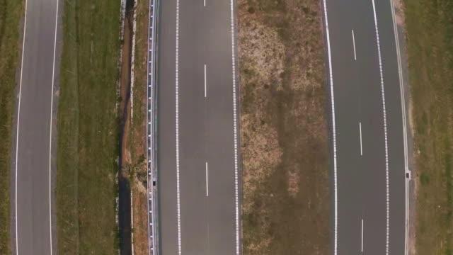 Aerial vertical empty highway shot