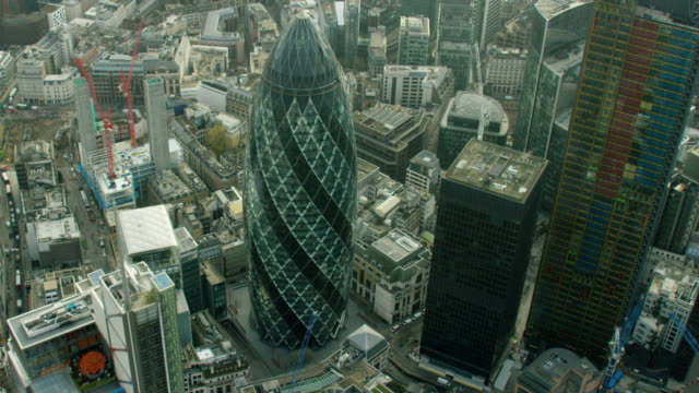 Aerial vertical view of Gherkin London City UK