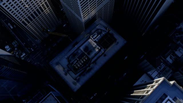 Aerial vertical view of rooftop Skyscrapers city buildings
