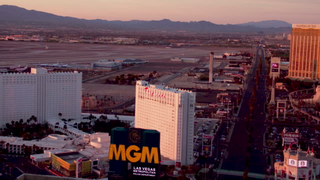 Aerial video flying over the Las Vegas Strip looking South, sunrise