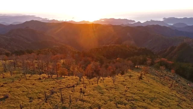 Aerial video footage taken from a drone flying above YoshinoKumano National Park encompassing parts of Nara Mie and Wakayama prefectures shows an...