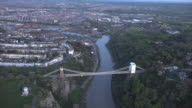 Aerial video of the Clifton Suspension Bridge in Clifton. Bristol, UK.