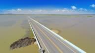 Aerial video of transportation bridge