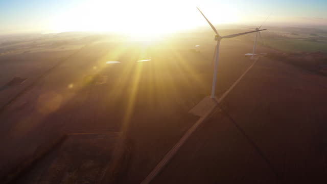 Aerial video of wind generator / wind turbine