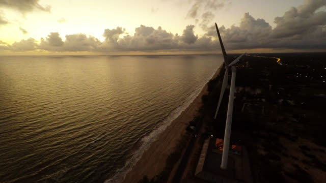 Aerial video of wind turbine