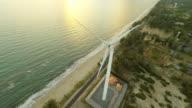 Aerial video of wind turbine