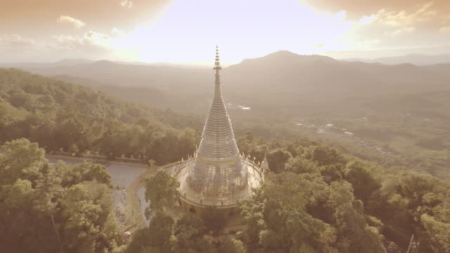 Aerial video pagoda on mountain, Thailand.