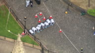 Aerial view and wide shot of forensic police searching for evidence after the Westminster terror attack