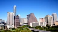 Aerial View Austin Texas Skyline From Sky to Bridge Town Lake or Lady Bird Lake