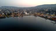 Aerial View City of Zurich dawn