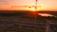 Aerial View . Construction of the house at sunset.