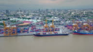 Aerial View Container ship in the harbor