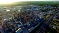 Aerial View Drone Shot Petrochemical Oil Refinery Creating Dirty Energy Fossil Fuel Industrial Revolution
