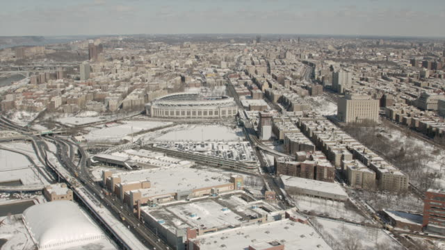 Aerial View Flying Into Yankee Stadium In The Bronx New York City On a Sunny Winter Day.