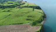 4K Aerial View Flying Up The Cleveland Way Coastal Path