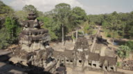 WS, PAN Aerial view from the top of an ancient temple in Angkor Wat / Siem Reap, Cambodia