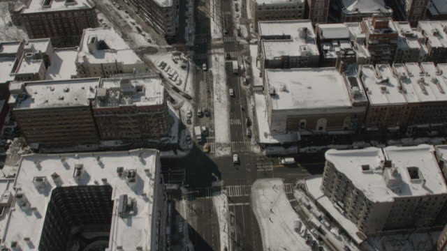 Aerial View Heading Southbound on 7th Ave in Harlem Towards Central Park In New York City