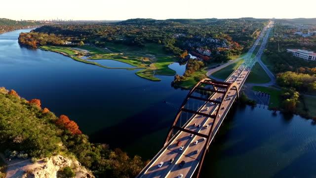Aerial View High Over the 360 Bridge or Pennybacker bridge The Local Austin Landmark