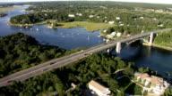 Aerial view huge bridge in New England