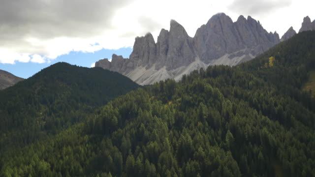 Aerial view Italian Dolomites Alto Adige mountains Italy