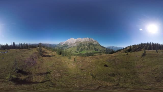 360VR aerial view landscape 4k video in the mountains