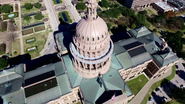 Aerial View Looking Down on Texas State Capitol Building Sunny Day in Austin , Texas